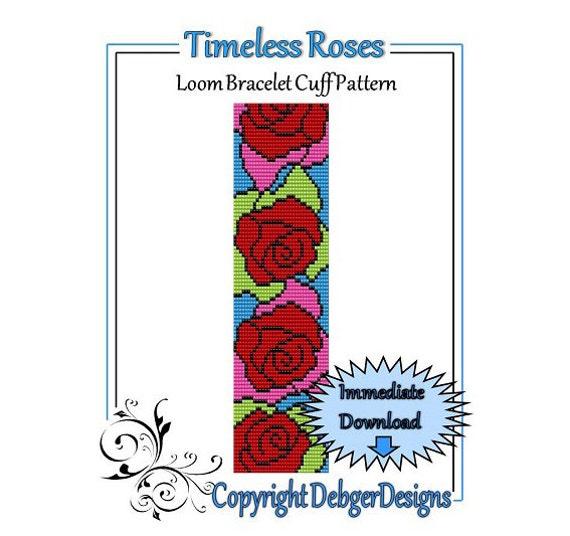 Bead Pattern Loom(Bracelet Cuff)-Timeless Roses