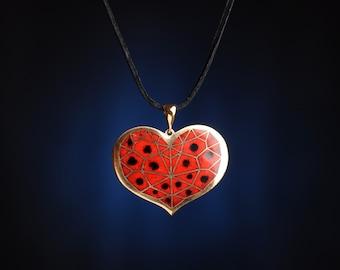 Black-Spotted Red Precious Heart Pendant - cloisonne enamel pendant