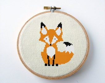 Fox Cross Stitch Pattern PDF Digital Needlepoint Instant Download Embroidery Chart