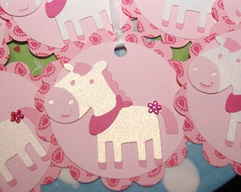 Horse Gift Bag Tag, Treat Bag Tags, Cowgirl,  Hoedown, Horse Party Decorations -- SET of 12