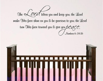 Nursery Bible Verse Wall Art, Lord Bless You