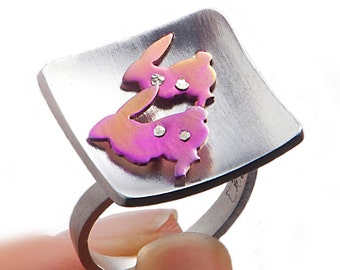 Bunny ring, ring with bunnies, bunny rabbit, pink bunny, sterling silver, animal jewelry, mixed metal, cute animal, square ring, wife gift