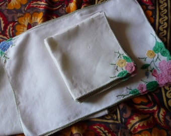 Vintage Linen set napkins runner and placemat embroidered