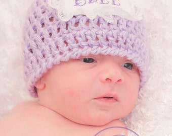 Lacy Personalized Newborn Hat