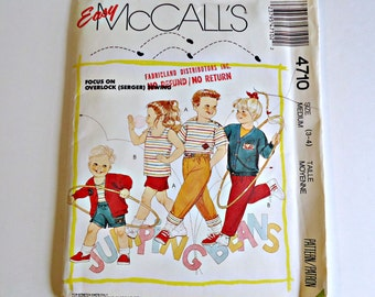 SALE - Easy McCall's Toddlers Childrens Cardigan Top Pants Shorts Pattern Sewing Patterns Stretch Knits1990 Size 3 4 Uncut