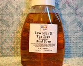 Lavender & Tea Tree Foaming Hand Soap - Organic Olive Oil Castile Soap Cleans, Moisturize and Softens Hands, Family Friendly, 8 oz./240 ml.