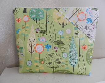 XL OOAK  Cosmetic Bag in this great Out of Print Fabric is Ready to Ship