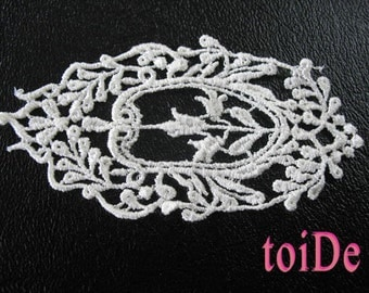 Vintage Oval Floral Lace Applique Embroidered Victorian Applique - 3 oval appliques