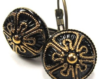 Gold and Black Czech Glass Button Earrings