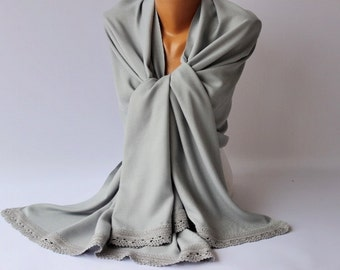 Bridesmaid gift, bridal shawl ,shawl ,emblished pashmina ,  bridal gift, with handmade lace,grey