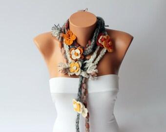 crochet lariat scarf ,long lariat scarf