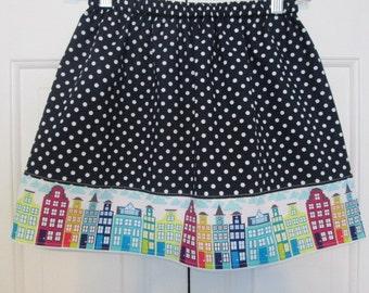 Michael Miller City Block  Skirt  (12 mos, 18 mos,24 mos,  2T,  3T, 4T, 5, 6, 7)