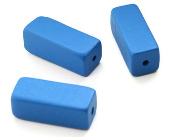 Large Blue Wooden Beads, Wooden Rectangle Beads 5pcs W 70 011