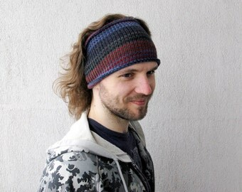 Knitted Mens Headband Guys knit hair wrap - blue burgundy grey for him Unisex Adults Dread band