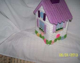 White And Lt.Purple  Birdhouse Tissue Box Cover