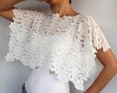 Bridal Shrug, Lace Bridal Cape Bolero , Shabby Chic Wedding Dress Cover-up, Ivory Stretchy Lace, Modern Wedding