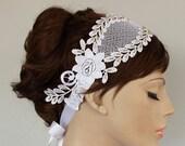 Roman Style Lace Bridal Headband Fascinator, Golden Beaded. Handmade Rustic Art Deco Wedding OOAK