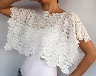Bridal Shrug, Lace Bridal Cape Top Bolero, Shabby Chic Wedding Dress Cover-up, Cream Stretchy Lace, Modern Wedding