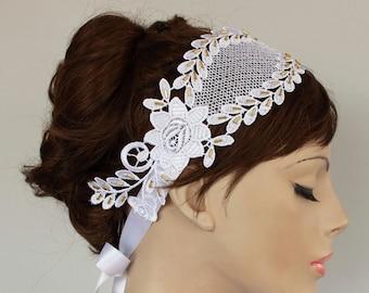 Lace Bridal Headband Roman Style Hair Fascinator, Golden Beaded. Handmade Rustic Art Deco Wedding OOAK