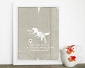 Dinosaur Poster Kitchen Art Print Until My Coffee I'm a Grumpasaurus Haiku by Katie Naugle