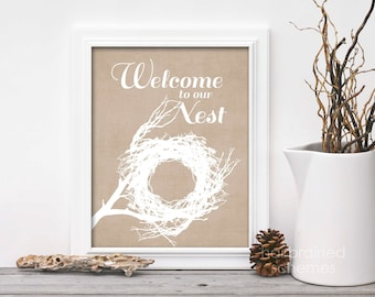 Welcome to Our Nest Spring Home Decor Sign - Typographic Easter Digital Art Print Linen Beige