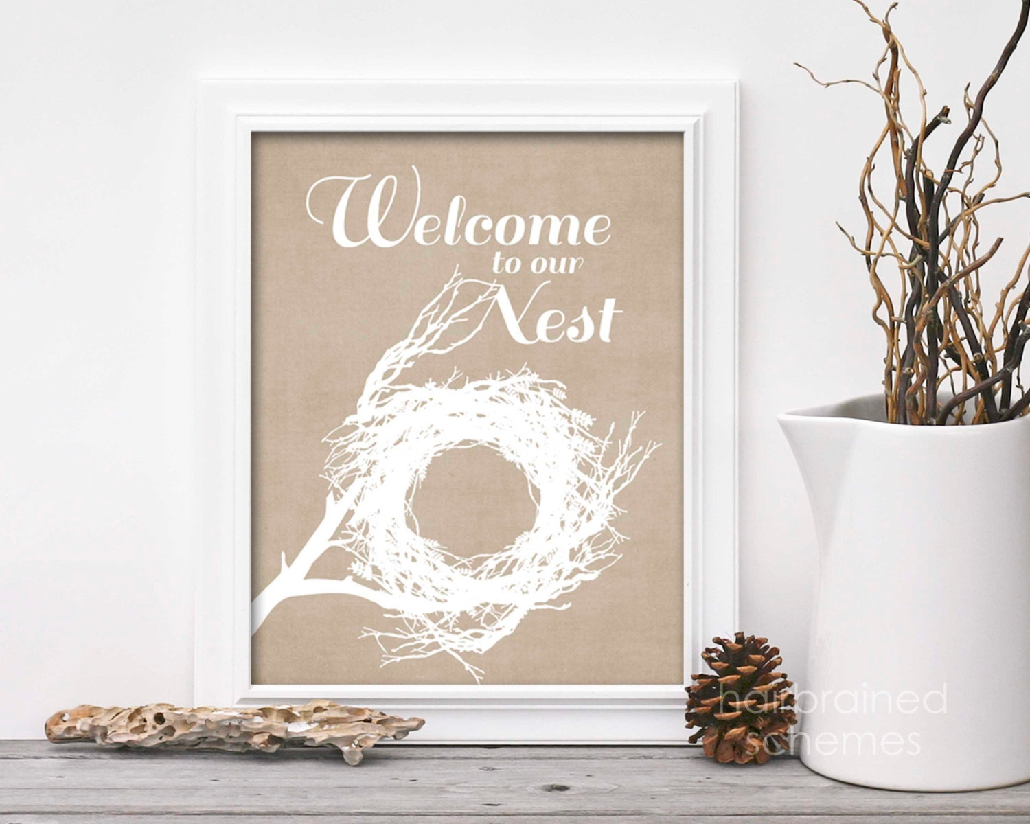 Welcome To Our Nest Spring Home Decor Sign Typographic