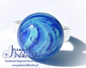 Handmade lampwork ring, Handmade glass ring, Round ring, Navy blue & turquoise ring