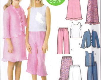 """Simplicity 5646 Sewing Pattern Girl's Capri Pants Skirt Jacket Dress or Top Sizes 8.5-16.5 Breast 30-36"""""""