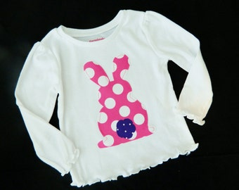 Girl, baby, toddler, tween Adorable Easter SHIRT with backward bunny rabbit applique pink polka dots with purple tail - sizes NB - 16