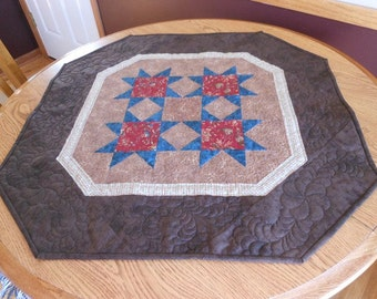 French Country Quilted Table Topper, Country Stars Quilted Table Topper, French Table Runner