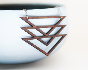 Laser Cut Walnut Wood Pendant Necklace on Sterling Silver Chain