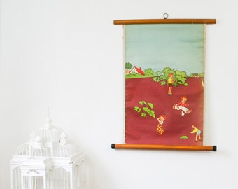 Vintage Pull Down School Chart, Primary School Illustrations, Playing on a Summer Day
