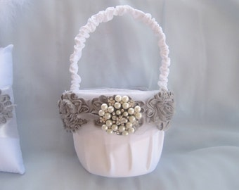 Round Flower Girl Basket, White and Pewter Gray Basket  - Ruffles and Pearls Flower Girl Basket