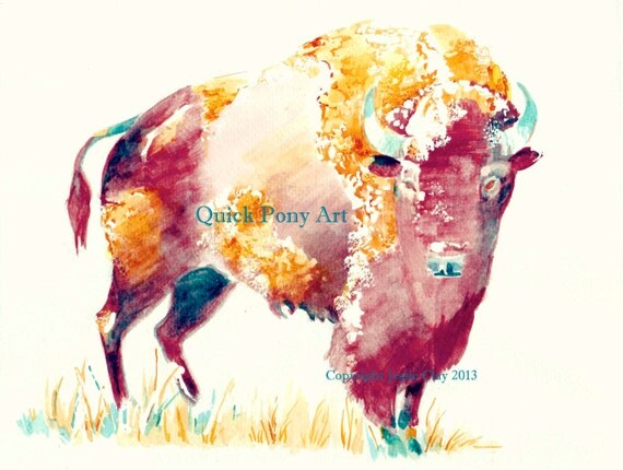 Lone Buffalo after Storm - watercolor