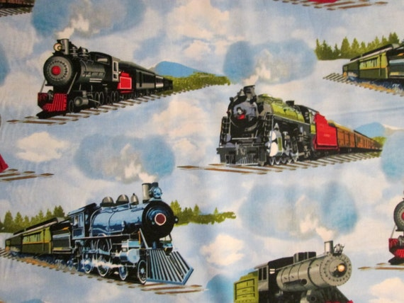 Items similar to train railroad trains blue background for Train print fabric