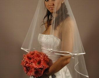 "wedding veil/wedding veil with satin ribbon 1/4""/bridal veils with satin ribbon/folded satin ribbon bridal veils/veils"
