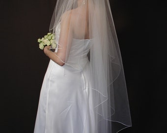 """Angel cut wedding veils/ 58"""" length angel cut veil/angel cut veil with pencil edging."""