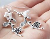 SALE White Flower Silver  Branch Earrings. Silver Branch Earrings. White Flower Silver Branch. Dangle Earrings. Spring Earrings