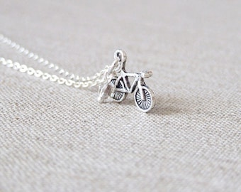 SALE Bike Necklace. Silver Bicycle Necklace. Tiny Bicycle Charm Necklace. Bicycle Jewelry. Bike. Sports Jewelry. Tour De France
