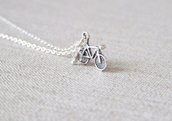 Bike Necklace. Silver Bicycle Necklace. Tiny Bicycle Charm Necklace. Bicycle Jewelry. Bike. Sports Jewelry. Tour De France