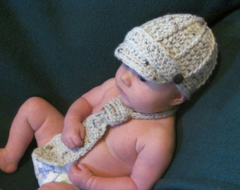 Infant Photo Prop - Newsboy Hat and Tie