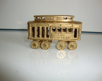 Vintage  Brass Cable Car,  San Francisco  Street Car,  Trolley,  Wheels, Toy Minature