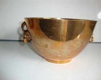 Brass  Bowl,  Elegant Brass Bowl with Handles, Heavy Bowl, Hanging Planter