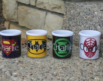 Personalized Mug Includes Four Inserts - Batman, Superman, Spiderman and Green Arrow Monogrammed