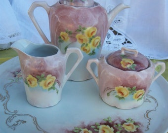 """SALE Limoges Tea Set - Tea Pot Creamer Sugar Bowl & 11.5"""" Plate Hand Painted Antique Stamped Signed Extraordinary Condition 1930s or Earlier"""