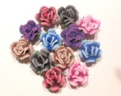 20 Fimo Polymer Clay Rose Flower Pink Blue Red Purple Brown Black Beads 20mm Variety Set -Assorted Colors