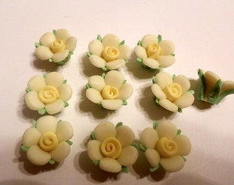 10 Fimo Polymer Clay Yellow Flowers Fimo Beads 17mm