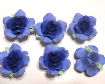 10 Fimo Polymer Clay Fimo Flower Rose Fimo Beads 35mm Blue Dark Blue