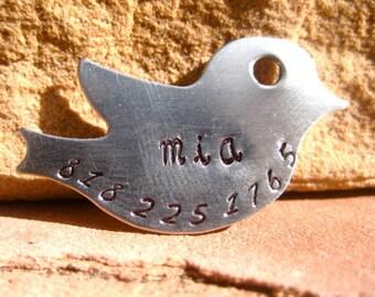 The Mia (#045) - Silver Bird Handstamped Pet ID Tag Unique Dog Cat