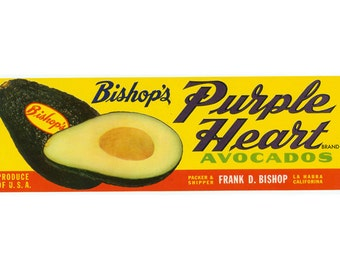 Bishops Purple Heart Avocado Crate Label